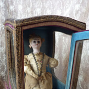 SOLD Faded grandeur French chaise a porteurs sedan chair doll accessory