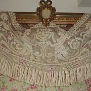 SOLD Delicious French filet lace valance cantonniere angels 1900's