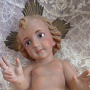 SOLD Vintage  statue Baby Jesus with glass eyes crown creche Christmas