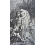 SOLD Decorative 19th C. engraving Greek God Adonis beauty & desire