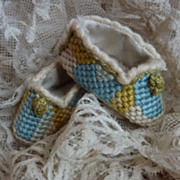 SOLD Adorable pair doll's tapestry slippers  shoes hand made 1 3/4 inch long
