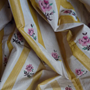 SOLD Vintage French silk taffeta fabric floral motifs boudoir projects