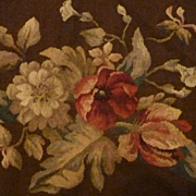 SOLD Delicious antique French Aubusson tapestry panel floral motifs pillow