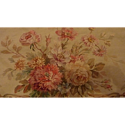 SOLD Delicious antique French Aubusson tapestry panel rose bouquet flower