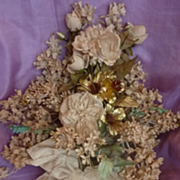 SOLD Delicious 19th C French wedding globe bouquet silk bow