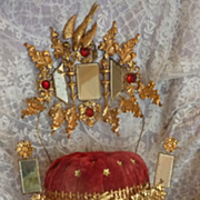 SOLD Faded grandeur wedding cushion display stand faux jewels