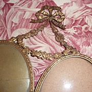 SOLD Delicious French ormolu double bow top photo frame swags