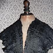 SOLD Delicious antique French ladies black silk mousseline cap collar