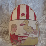 SOLD Adorable vintage French fabric covered toy egg ducks dog children 1930's