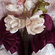 SOLD Delicious pair antique French hand made burgundy satin ladies shoes with bows