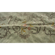 SOLD Delicious antique French embroidered soft green moire panel floral motifs valance cantonn