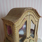 SOLD Rare 19th C. French miniature brocade fabric covered curvy vitrine cabinet doll size