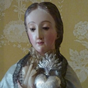 Faded grandeur Antique French silver ex voto flaming sacred heart reliquary box 1880's
