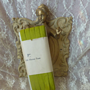 Delicious vintage French unused narrow silk green ribbon on original card