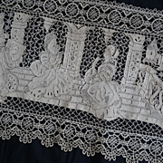 SOLD Superb antique lace panel elegant 17th century scene chateau bed canopy