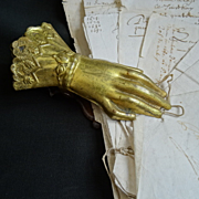SOLD Decorative 19th C. French large metal desk paper clip : holder hand glove cuff