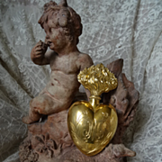 SOLD Delicious 19th C. French  Large ormolu flaming ex voto Holy water container heart flacon