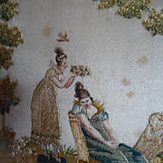 SOLD Exquisite antique French Empire : Georgian framed silk paint miniature embroidery romanti