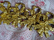 4 delicious antique French gilt bronze ribbon bow with tassel embellishments painting picture