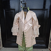 SOLD Young Boys hand made pink and green silk lace dressing up or theatre costume : 18th c sty