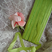Delicious vintage French unused  narrow acid green silk ribbon on original card