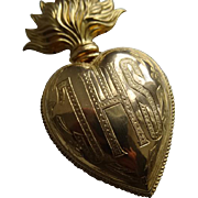 Unusual religious French ormolu flaming sacred heart ex voto reliquary IHS : Jesus  : 4 7/8th