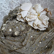 SOLD Delicious antique French Opera bonnet wired net ,sequins, paste stones, pearls, faded mil