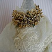 SOLD Exquisite antique French bride's hand embroidered  muslin wedding trousseau shawl floral