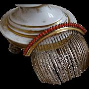 SOLD Exquisite antique French Directoire Empire gold , vermeil red coral diadem : comb : tiara