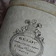 SOLD Faded grandeur shabby antique French hat box Aristocratic owner top hat GELOT Paris crown
