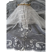 SOLD Exquisite vintage French embellished tulle lace bride's trousseau wedding veil floral ...