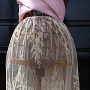SOLD Ethereal vintage French cream synthetic lace skirt panel floral motifs
