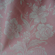 SOLD Delicious huge morceau French candy pink and cream ticking fabric floral ribbon bow motif