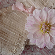 SOLD Delicious 19th C. French hand made pleated cream silk taffeta layered trim from ladies we