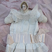 SOLD Adorable little girls cream drop waisted dress lace silk ribbon bow circa 1920  decorativ