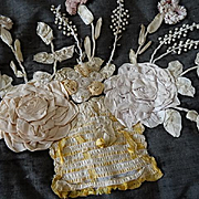 SOLD Shabby faded grandeur French ribbon work cushion basket rose flower motifs 1900's