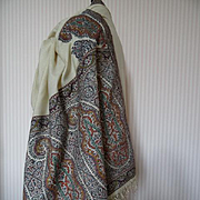 SOLD Rare early 19th C. cream cashmere Kashmir European Paisley design stole shawl Georgian pe