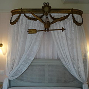 SALE PENDING Exquisite French faded grandeur hand carved gilded gesso Dove Arrow bed canopy de