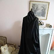 SOLD Enormous 19th century unused French luxury black silk wool shawl : chale Chateau attic fi
