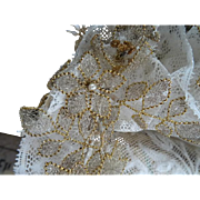 SOLD Rare French bride's lace wedding bonnet silver gold metallic flowers, faux pearls  silk r