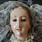 Exquisite antique Spanish Madonna Virgin Mary religious wooden carved statue signed Tomas Pica