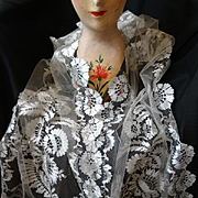 SOLD Rare sublime 19th C. French Blonde de Caen silk bobbin lace long wedding stole shawl with