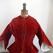 SALE PENDING Charming 19th C. French ladies claret colored velvet wasp waist jacket pagoda sle