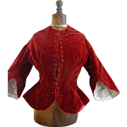 SOLD Charming 19th C. French ladies claret colored velvet wasp waist jacket pagoda sleeves