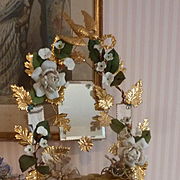 SOLD Delicious antique French ormolu green wedding cushion display stand porcelain roses crown