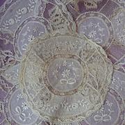 SOLD 5 adorable old Normandy lace doilies floral bow motifs Chateau provenance