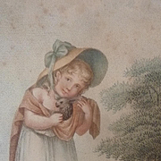 Charming 19th C. French framed stipple engraving young girl with rabbits