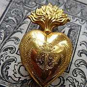 SALE PENDING Gleaming antique French ex voto flaming sacred heart box reliquary crown circa 18