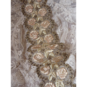SOLD Delicious collection of silk embroidered tulle trim with rose motifs and metallic flowers