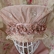 SALE PENDING Delicious old French pink wedding bonnet lace  pink millinery flowers  ribbon bow